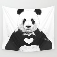 black Wall Tapestries featuring All you need is love by Balazs Solti