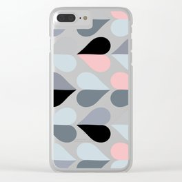 Love and Kisses in Pink and Grey Clear iPhone Case