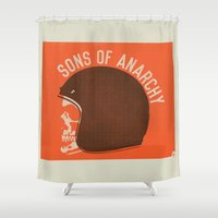 sons of anarchy Shower Curtains featuring Sons of Anarchy Skull Helmet by Ryder Doty