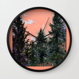 CORAL PINK WESTERN PINE TREES MOUNTAIN LANDSCAPE Wall Clock