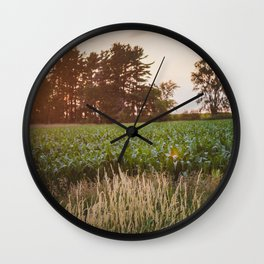 Sunsets and Corn Fields Wall Clock