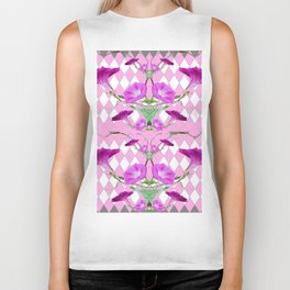 ORIGINAL GARDEN ART OF PURPLE MORNING GLORY VINES Biker Tank