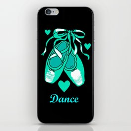 Love to Dance Teal Ballet Shoes iPhone Skin