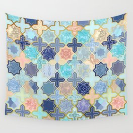 Cream, Navy and Aqua Geometric Tile Pattern Wall Tapestry