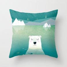 Happy Polar Bear Throw Pillow