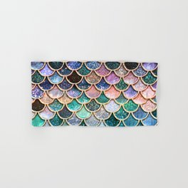 Multicolor Pink And Aqua Mermaid Scales - Beautiful Abstract Glitter Pattern  Hand & Bath Towel