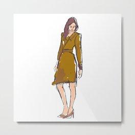 Model Fashion Drawn Metal Print