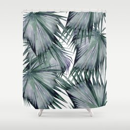 Tropical Leaves Green Shower Curtain