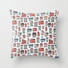 Watercolour Houses Throw Pillow
