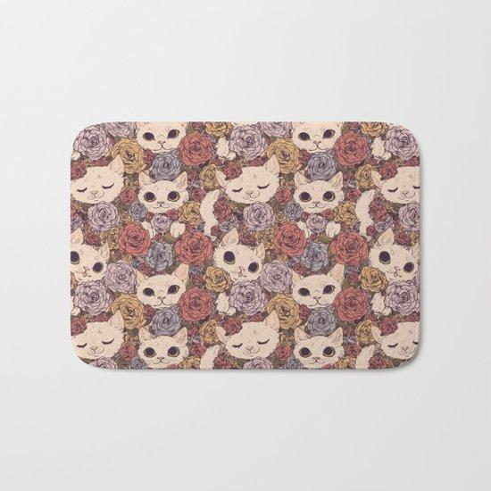 Floral Cat Pattern Bath Mat