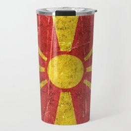 Vintage Aged and Scratched Macedonian Flag Travel Mug