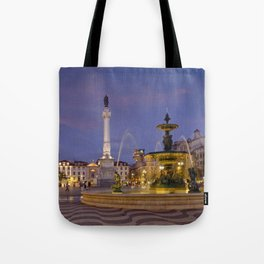 Rossio square at dusk Tote Bag