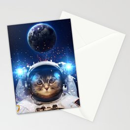 Beautiful cat in outer space Stationery Cards