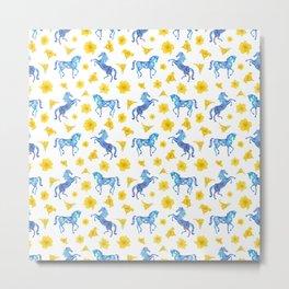Blue horse love Metal Print