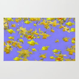 Yellow Daffodils Jonquils Narciscus Flowers Lilac Art Rug