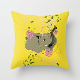 Lucky Elephant in Yellow Throw Pillow