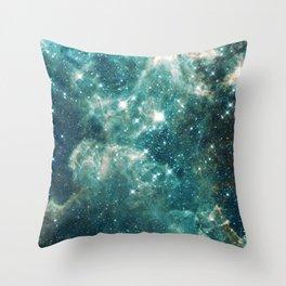 Teal Blue Galaxy Throw Pillow