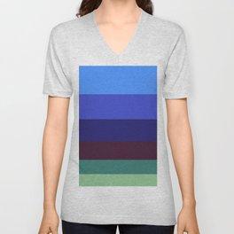 Colorful Green & Blue Stripe Pattern Colour Block Stripes Unisex V-Neck