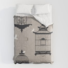 Mascara Empty Brid Cages Comforters