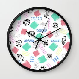 Geometrical pink teal black Memphis 80's pattern Wall Clock