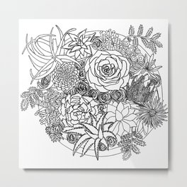 Black and white illustration succulents in a pot Metal Print