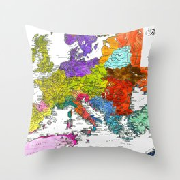 The Peoples of Europe According to Ptolemy Throw Pillow