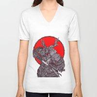 battlefield V-neck T-shirts featuring Shogun by Mongolizer