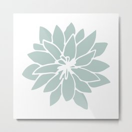 Flower Forest Fern Green on White Metal Print