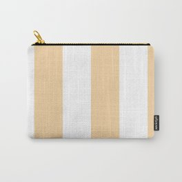 Wide Vertical Stripes - White and Sunset Orange Carry-All Pouch