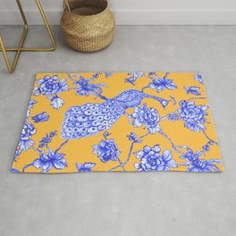 Chinoiserie Peacock Golden Yellow Rug