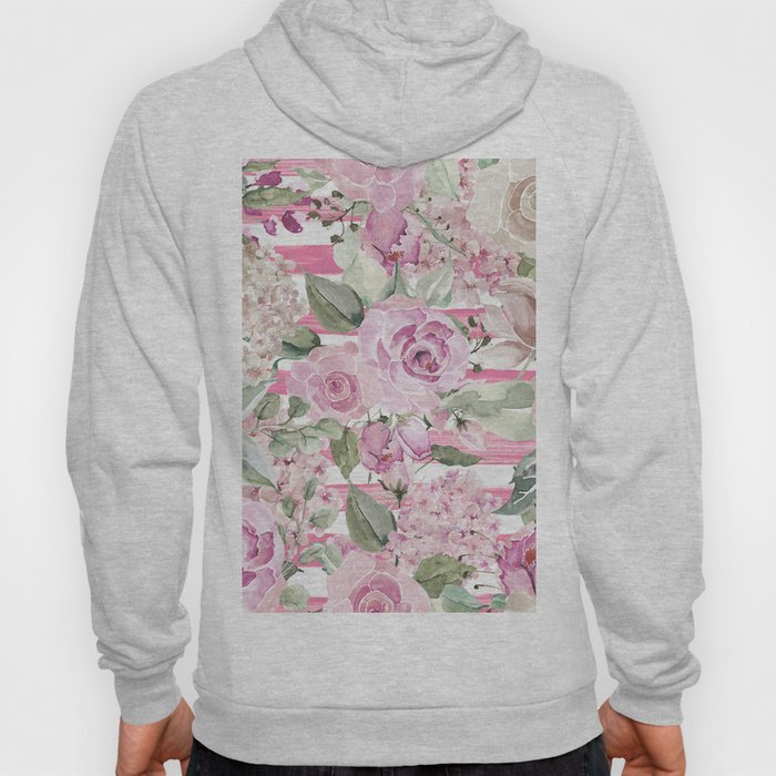Country chic watercolor pastel green pink geometric floral Hoody