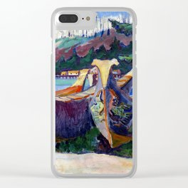 Emily Carr First Nations War Canoes in Alert Bay Clear iPhone Case