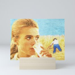 Girl in wheat field Mini Art Print
