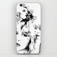 stevie nicks iPhone & iPod Skins featuring Trois Stevie by Lynette K.