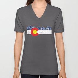 Colorado Flag Mountain Gift Vacation Colorado Day Denver Unisex V-Neck