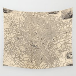 Vintage Map of Birmingham England (1851) Wall Tapestry