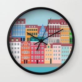Denmark, Nyhavn, Copenhagen Travel Poster Wall Clock
