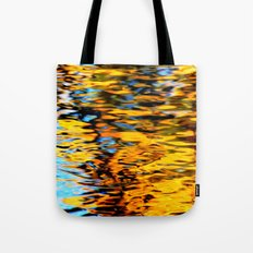 Liquidum Ignis. Fall Tree Reflections in a Pool of Water Tote Bag