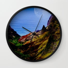 Hawaii Moon Over Coastal Cliffs Wall Clock