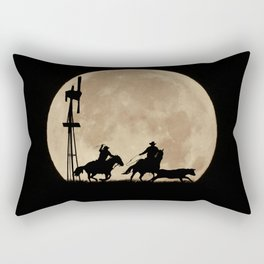 Rustler's Moon, Cowboys Roping Country Western Moon and Windmill Rectangular Pillow