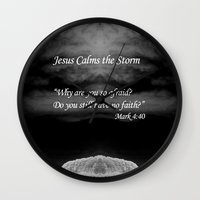 religious Wall Clocks featuring Faith Religious Art--- Jesus Calms the Storm--- Bible Scripture Mark 4: 35-41 By Saribelle Rodriguez by Saribelle Inspirational Art