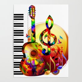 Colorful  music instruments painting, guitar, treble clef, piano, musical notes, flying birds Poster