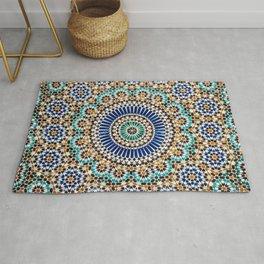blue & gold moroccan tile Rug