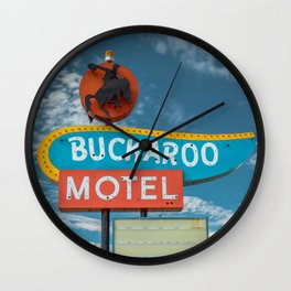 Buckaroo Motel Route 66 Vintage Neon Sign Nostalgia Wall Clock