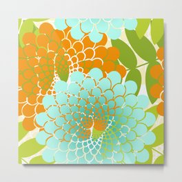 Modern Garden Spiral Flowers Metal Print