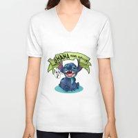 ohana V-neck T-shirts featuring Ohana by KanaHyde