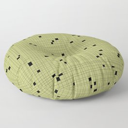 Light Green and Black Grid - Missing Pieces Floor Pillow