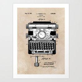 patent art typewriter Art Print
