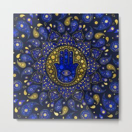 Hamsa Hand -Hand of Fatima Dot Art Lapis Lazuli and gold Metal Print