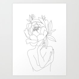 Minimal Line Art Woman Flower Head Art Print